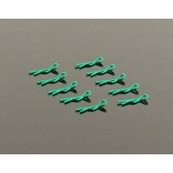 Clips Carroceria Aro Pequeño 1/10 - Metalico Verde (10)