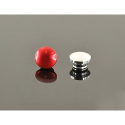 18mm Aluminum End Cap - Red & Silver (One Each)