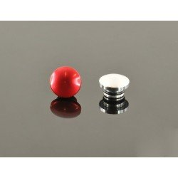 22mm Aluminum End Cap - Red & Silver (One Each)