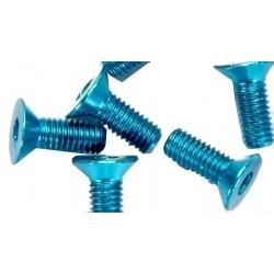 Tornillo de cabeza plana 3X8 Azul Alu. (10pzs)