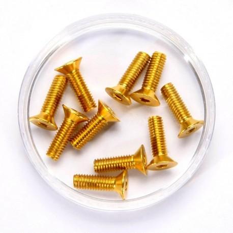 Tornillo de cabeza plana 3X10 Gold Alu. (10pzs)