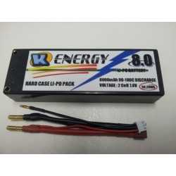 Battery 8000mAh Lipo 2S 90/180C Hard Case K-Energy
