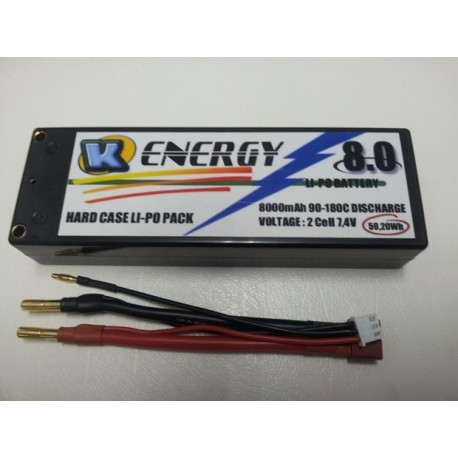 Battery 8000mAh Lipo 2s 90/180C Hard Case K-Energy