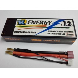 Battery 7200mAh Lipo 2s 75/150C Hard Case K-Energy