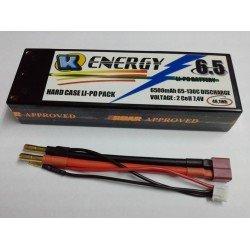 Battery 6500mAh Lipo 2S 65/130C Hard Case K-Energy